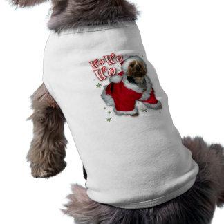 T-shirt do cão de Yorkie do papai noel Camisa Sem Mangas Para Cachorro