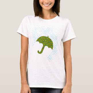 T-shirt do chá de panela do guarda-chuva do pavão camiseta