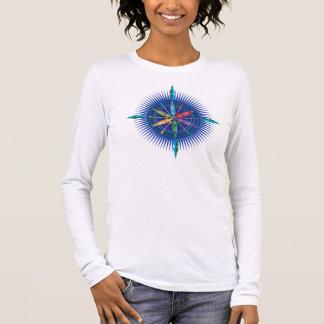 T-shirt do compasso do caiaque camiseta manga longa