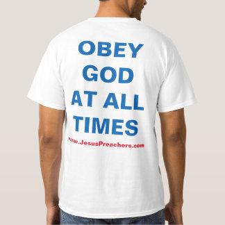 T-shirt do evangelismo do deus do medo/deus do