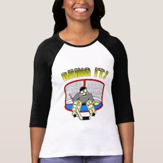 T-shirt do Goalie do pinguim das mulheres Camiseta