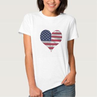 T-shirt do Hanes das mulheres da bandeira dos EUA