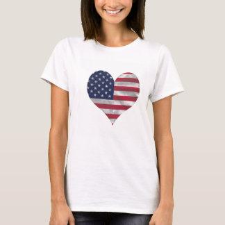 T-shirt do Hanes das mulheres da bandeira dos EUA Camiseta