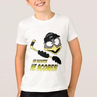 T-shirt do hóquei do pinguim da juventude camiseta
