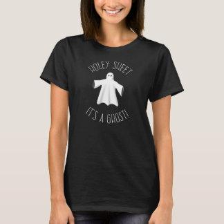 T-shirt do humor do Dia das Bruxas. Folha Holey é Camiseta