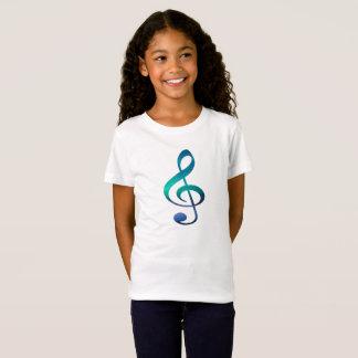 T-shirt do jérsei da menina do símbolo de música camiseta