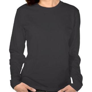T-shirt do LS do preto do design de texto das meni