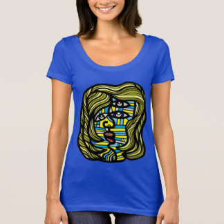 T-shirt do pescoço da colher das mulheres da camiseta
