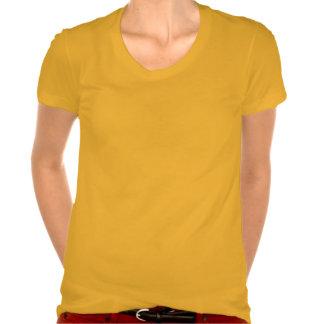 T-shirt do pescoço da colher do Poli-Algodão das