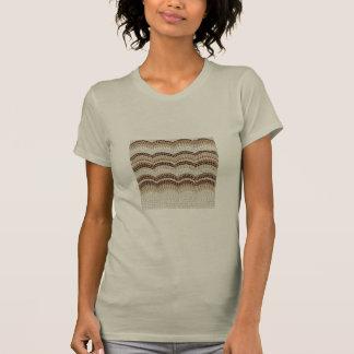T-shirt do pescoço de grupo das mulheres bege do camiseta