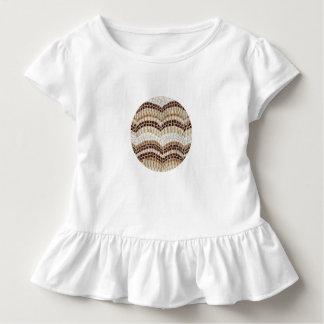 T-shirt do plissado da criança com mosaico bege