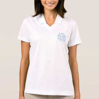 T-shirt do polo das mulheres azuis das bolinhas