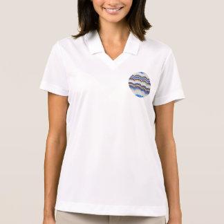 T-shirt do polo das mulheres azuis do mosaico
