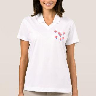 T-shirt do polo das mulheres dos balões de ar