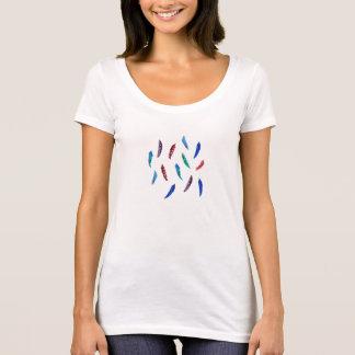 T-shirt do polycotton das mulheres com penas camiseta