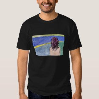 T-shirt do preto do ninho da égua da borda da