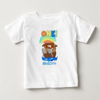 T-shirt do primeiro aniversario do bebê da arca de camiseta para bebê