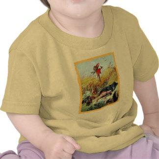 T-shirt do Puss e da criança das botas