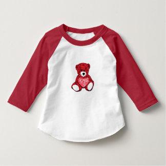 T-shirt do Raglan da luva da criança 3/4 do urso Camiseta