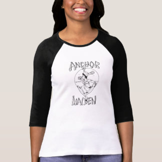 T-shirt do Raglan da menina do marinho