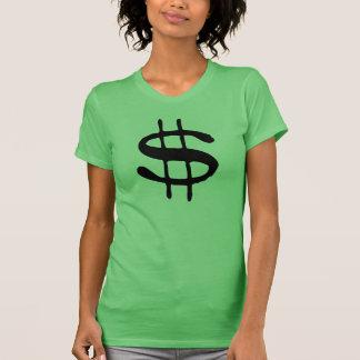 T-shirt do sinal de dólar do dinheiro camiseta