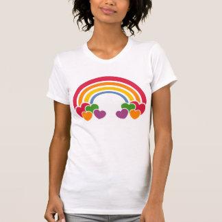 t-shirt dos corações de n do arco-íris do anos 80