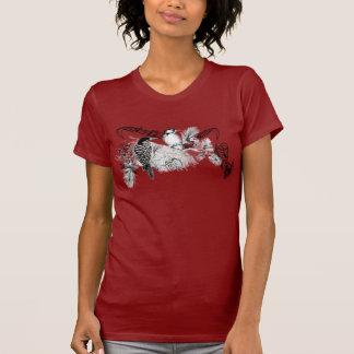 T-shirt dos pássaros do amor do vintage