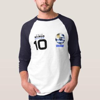 T-shirt dourado da bola #10 Forlan Uruguai do Camiseta