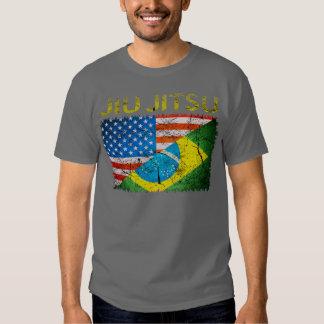 T-shirt duplo das bandeiras de Jiu Jitsu do