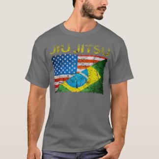 T-shirt duplo das bandeiras de Jiu Jitsu do Camiseta