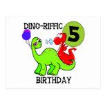 T-shirt e presentes do aniversário do dinossauro 5 cartoes postais