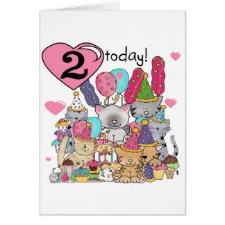 T-shirt e presentes do segundo aniversário dos gat cartão comemorativo