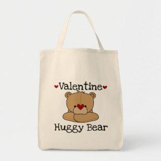 T-shirt e presentes do urso de Huggy dos namorados Sacola Tote De Mercado