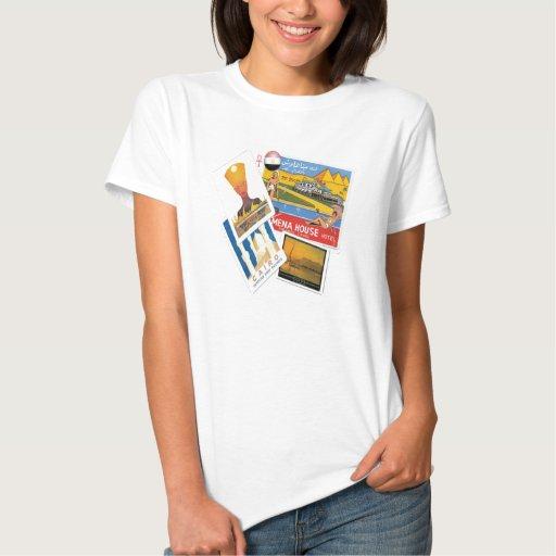 T-shirt egípcio dos posters das viagens vintage pa