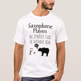 T-shirt engraçado do saxofone - urso médio camiseta