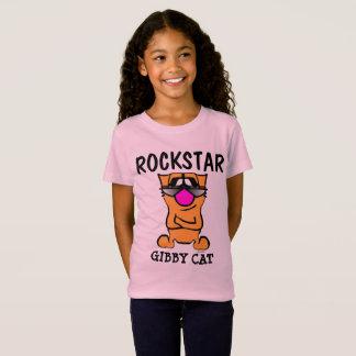 T-shirt engraçados do gato, miúdos ROCKSTAR das Camiseta
