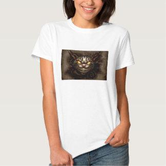 T-shirt escuro das senhoras do gato de Cheshire