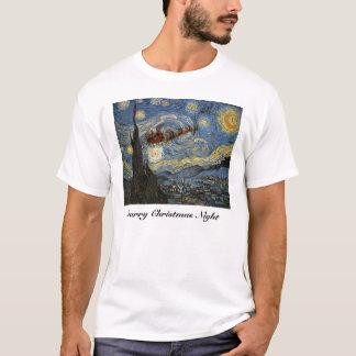 T-shirt estrelado da arte da noite de Natal Camiseta