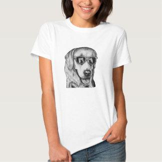 T-shirt felino da arte do cão do fascínio