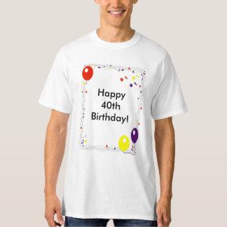 T-shirt feliz do aniversário de 40 anos camiseta