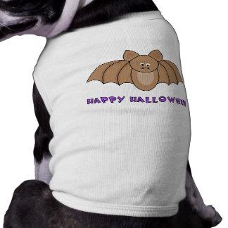 T-shirt feliz do cão do Dia das Bruxas do bastão Camisa Sem Mangas Para Cachorro