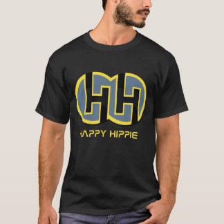 T-SHIRT FELIZ PRETO DO HIPPIE CAMISETA