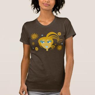 T-shirt fêmea abstrato da cara camiseta