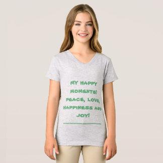 t-shirt fino do v-pescoço do jérsei da menina camiseta