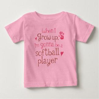T-shirt infantil do bebê do jogador de softball camiseta para bebê