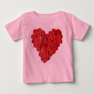 T-shirt infantil do coração do botão (bonito como