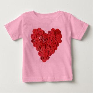 T-shirt infantil do coração do botão (bonito como camiseta para bebê