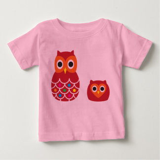 T-shirt infantil, rosa, CORUJAS VERMELHAS Camiseta Para Bebê