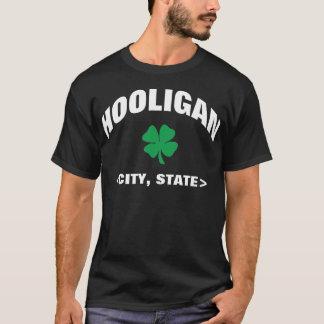 T-shirt irlandês preto personalizado do hooligan camiseta