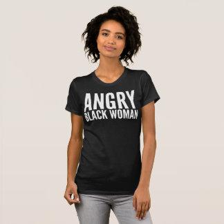 T-shirt irritado da tipografia da mulher negra camiseta